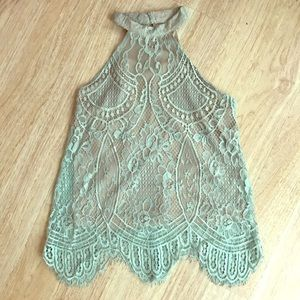 Light Blue High Neck Lace Scalloped Tank Top